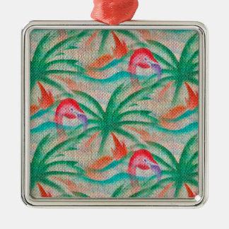 Flamingo Palm Tree Burlap Image Ornaments