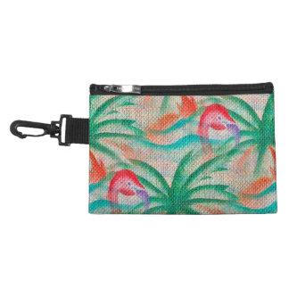 Flamingo Palm Tree Burlap Look Accessory Bags