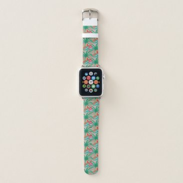 Beach Themed Flamingo Palm Tree Burlap Look Apple Watch Band