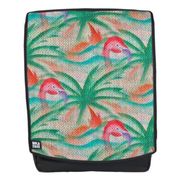 Beach Themed Flamingo Palm Tree Burlap Look Backpack