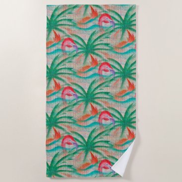 Beach Themed Flamingo Palm Tree Burlap Look Beach Towel