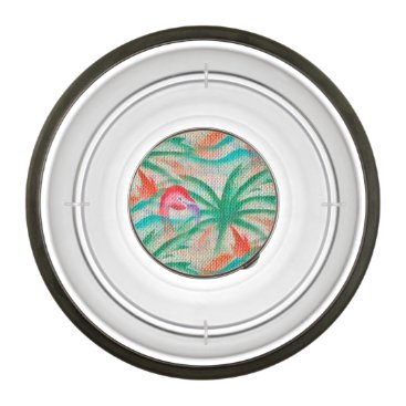 Beach Themed Flamingo Palm Tree Burlap Look Bowl