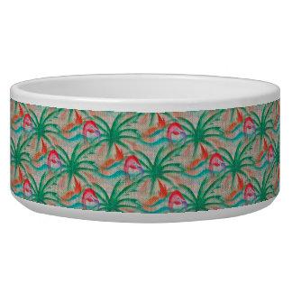 Flamingo Palm Tree Burlap Look Bowl
