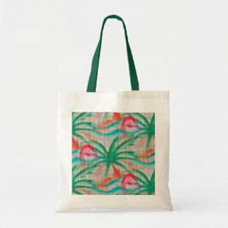 Flamingo Palm Tree Burlap Look Budget Tote Bag