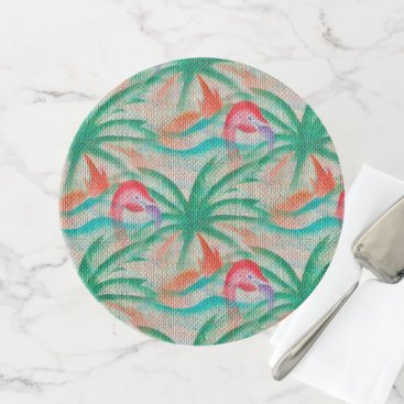 Beach Themed Flamingo Palm Tree Burlap Look Cake Stand