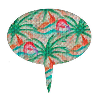Flamingo Palm Tree Burlap Look Cake Toppers