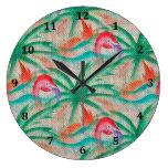 Flamingo Palm Tree Burlap Look Clocks