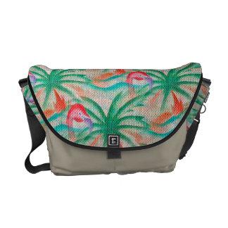 Flamingo Palm Tree Burlap Look Courier Bags