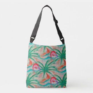 Flamingo Palm Tree Burlap Look Crossbody Bag
