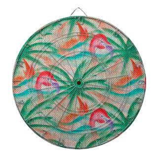 Flamingo Palm Tree Burlap Look Dartboard With Darts