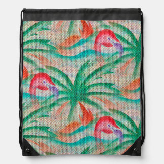 Flamingo Palm Tree Burlap Look Drawstring Bag