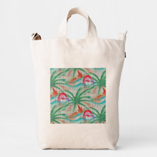 Flamingo Palm Tree Burlap Look Duck Canvas Bag