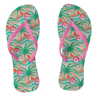 Flamingo Palm Tree Burlap Look Flip Flops