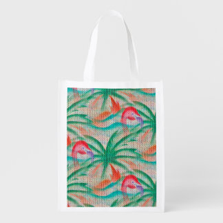 Flamingo Palm Tree Burlap Look Grocery Bag