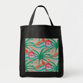Flamingo Palm Tree Burlap Look Grocery Tote Bag