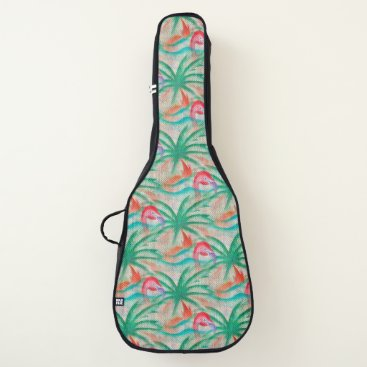 Beach Themed Flamingo Palm Tree Burlap Look Guitar Case