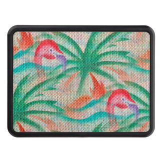 Flamingo Palm Tree Burlap Look Hitch Cover