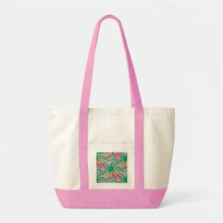 Flamingo Palm Tree Burlap Look Impulse Tote Bag