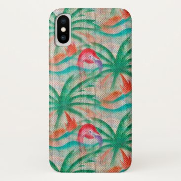Beach Themed Flamingo Palm Tree Burlap Look iPhone X Case