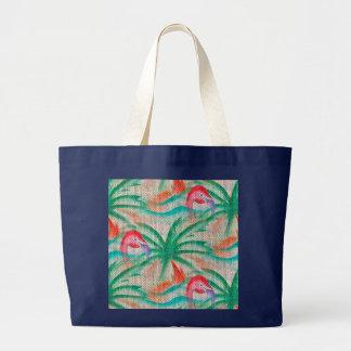 Flamingo Palm Tree Burlap Look Jumbo Tote Bag