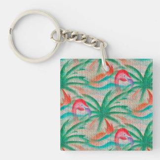 Flamingo Palm Tree Burlap Look Acrylic Keychains