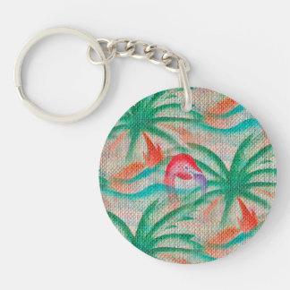 Flamingo Palm Tree Burlap Look Keychains