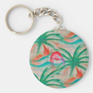 Flamingo Palm Tree Burlap Look Keychain