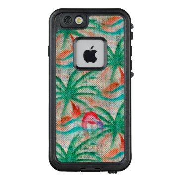 Beach Themed Flamingo Palm Tree Burlap Look LifeProof® FRĒ® iPhone 6/6s Case