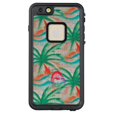 Beach Themed Flamingo Palm Tree Burlap Look LifeProof® FRĒ® iPhone 6/6s Plus Case