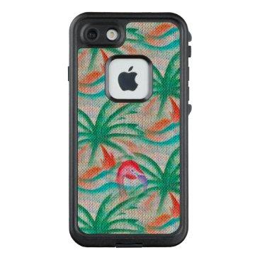 Beach Themed Flamingo Palm Tree Burlap Look LifeProof® FRĒ® iPhone 7 Case