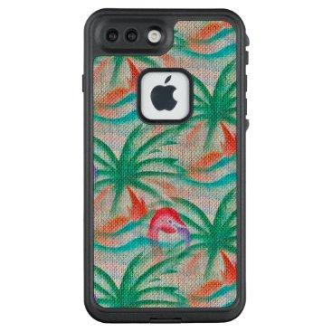 Beach Themed Flamingo Palm Tree Burlap Look LifeProof® FRĒ® iPhone 7 Plus Case