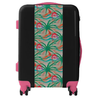 Flamingo Palm Tree Burlap Look Luggage