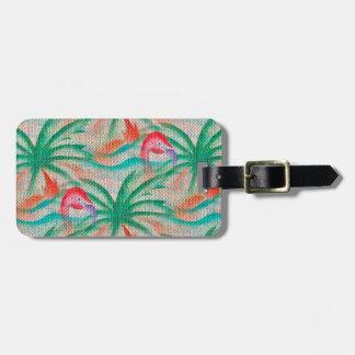 Flamingo Palm Tree Burlap Look Luggage Tag