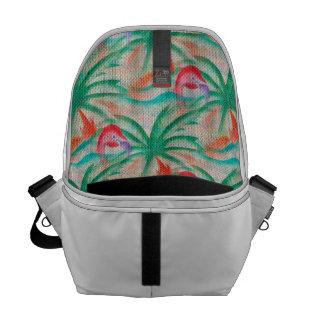 Flamingo Palm Tree Burlap Look Messenger Bag