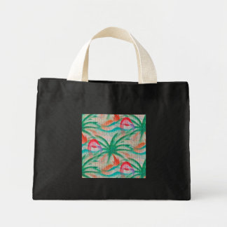 Flamingo Palm Tree Burlap Look Mini Tote Bag