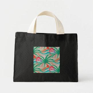 Flamingo Palm Tree Burlap Look Mini Tote Bag