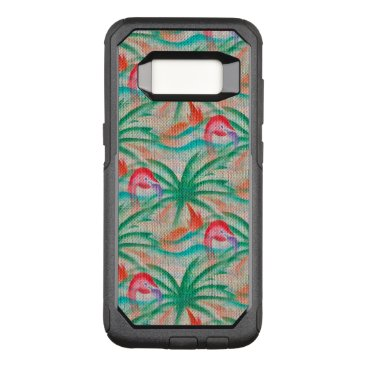 Beach Themed Flamingo Palm Tree Burlap Look OtterBox Commuter Samsung Galaxy S8 Case