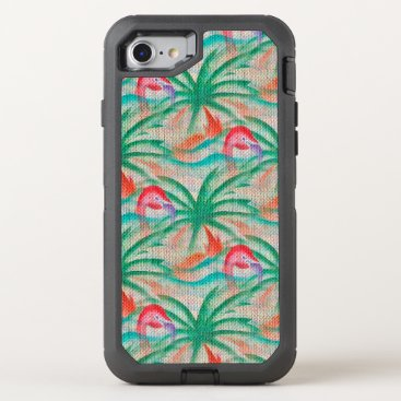 Beach Themed Flamingo Palm Tree Burlap Look OtterBox Defender iPhone 7 Case
