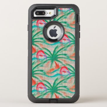 Beach Themed Flamingo Palm Tree Burlap Look OtterBox Defender iPhone 7 Plus Case
