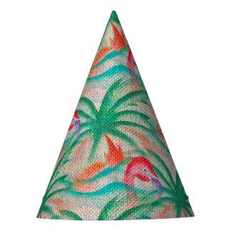 Flamingo Palm Tree Burlap Look Party Hat