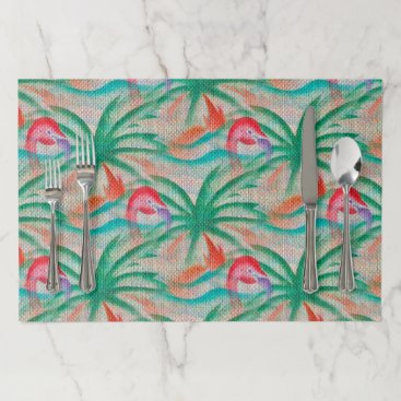 Beach Themed Flamingo Palm Tree Burlap Look Placemat