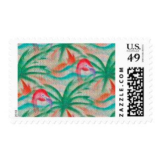 Flamingo Palm Tree Burlap Look Postage