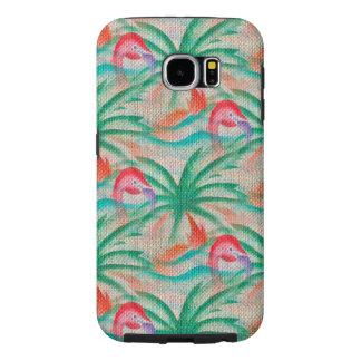 Flamingo Palm Tree Burlap Look Samsung Galaxy S6 Case