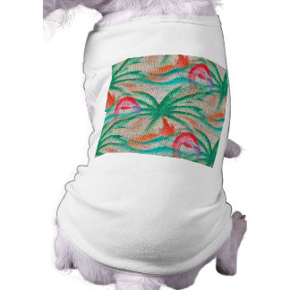 Flamingo Palm Tree Burlap Look Shirt