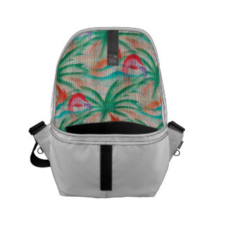 Flamingo Palm Tree Burlap Look Small Messenger Bag