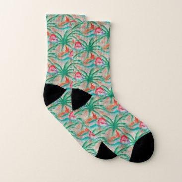 Beach Themed Flamingo Palm Tree Burlap Look Socks