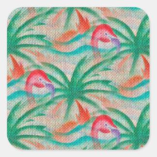Flamingo Palm Tree Burlap Look Square Sticker