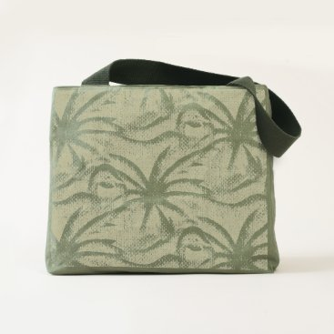Beach Themed Flamingo Palm Tree Burlap Look Tote