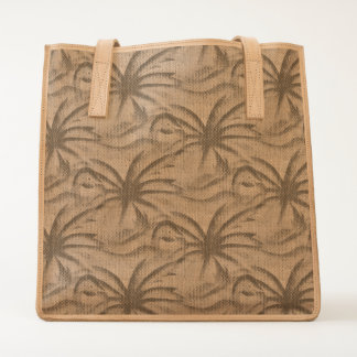 Flamingo Palm Tree Burlap Look Tote