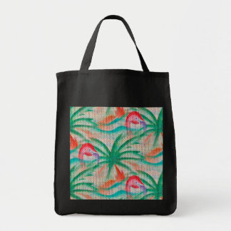 Flamingo Palm Tree Burlap Look Tote Bag